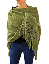 TINKUY PERU - 秘鲁羊驼毛 - 女式钩针编织手 - 针织花羊绒披肩披巾
