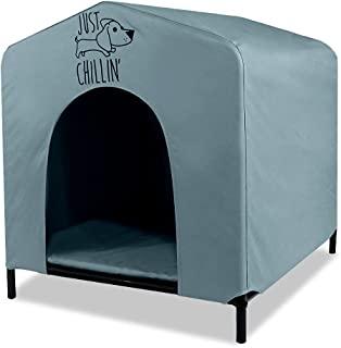 Floppy Dawg Just Chillin' 便携式狗屋。适用于室内和室外使用的高架宠物庇护所。防水透气牛津面料。易于组装,轻便。24 英寸长 x 23 英寸宽 x 25 英寸高