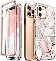 i-Blason Cosmo 系列手机壳,适用于 iPhone 12、iPhone 12 Pro 6.1 英寸(2020 年发布),超薄全机身时尚保护壳,内置屏幕保护膜(大理石)