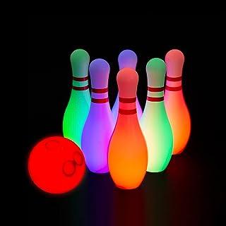 PUZZLE KING 发光儿童保龄球套装包括 6 个别针和 1 个保龄球别针玩具套装,适合儿童幼儿室内和室外游戏,适合男孩女孩7 件,大号