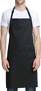 围兜围裙可调节,带 3 个口袋 - 女式男式围裙带 101.6 厘米前包裹系带黑色厨师厨房餐厅 POLILI