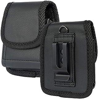 RAZR 翻盖手机壳,Nakedphone 黑色人造皮革垂直袋[带皮带环,金属夹,磁扣] 适用于摩托罗拉 Moto RAZR 翻盖手机(2019,5G 2020)