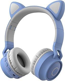 Damikan 无线蓝牙儿童耳机 猫耳蓝牙耳机 LED 灯 FM 收音机 TF 卡 Aux 麦克风 适用于 iPhone/iPad/Kindle/笔记本电脑/PC/电视 (LT 蓝色)