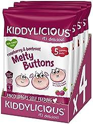 Kiddylicious 覆盆子和甜菜根美味纽扣 | 儿童美味零食 | 适合 9 个月以上的宝宝 | 4 x 5 包(共 20 个)