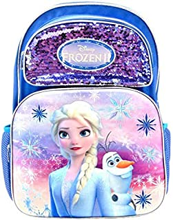 Disney 冰雪奇缘 II 艾莎和奥拉夫全尺寸 16 英寸 3D 双肩包带亮片
