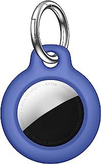 AirTag 保护套 + 钥匙圈兼容 Apple AirTag ,与狗项圈、背包、钱包和钥匙配合使用,1(计数)(蓝色)