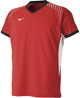 [Mizuno 美津浓] 羽毛球服 运动衫 短袖 标准 动作贴合 吸汗速干 软式网球 羽毛球 72MA9005