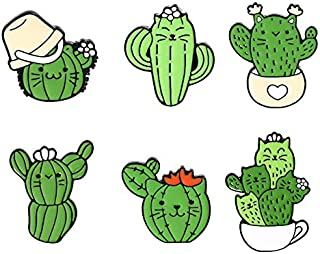 ROFARSO 6 件别针套装带仙人掌珐琅胸针卡通热带植物翻领别针配件背包徽章帽袋适合女士女孩儿童礼物