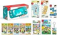 Nintendo 任天堂 Switch Lite 綠松石+被抓住 動物森林 -Switch+動物森林amiibo卡全套各1包+amiibo卡片相冊+液晶保護膜 多功能+智能小包EVA 煙動物森林+硬質套 紅豆動物森林【A