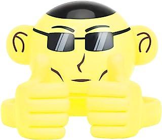 蓝牙扬声器,猴子形状的便携式无线多功能扬声器,带3.5毫米音频插孔和可调节的灵活智能手机支架,可放置平板电脑,黄色