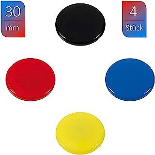 WESTCOTT 磁贴 4 件装 30 毫米 圆形 每件 1 件 黑色 红色 蓝色 黄色 E-10823 00