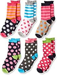 Jefferies Socks 女童圆点/心形图案/条纹时尚船袜 6 双装