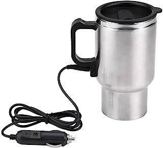 Qiilu 12V 450ml 电动杯,不锈钢电动车内旅行加热杯咖啡茶车杯带点烟器电缆
