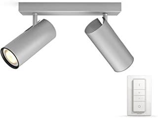 Philips 飞利浦 Hue LED 射灯 Buratto 扩展版 可调光 深浅不一的白色 可通过应用程序控制 银色 兼容 Amazon 亚马逊 Alexa (Echo Echo Dot) 银白色 7  x  24  x  11.2 cm