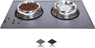 AVYDIIF 狗猫宠物喂食垫(19.75 x 12.25 英寸,灰色)