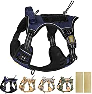 PETAGE 战术狗狗胸背带,无拉扯,反光*狗胸背带,适用于 TIK ToK 服务狗胸背带,包括*带,可调节工作宠物胸背带,适合中小型犬和大型犬(蓝色-L)