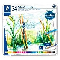 STAEDTLER 14610C M24 水溶性彩色鉛筆 (經典六角形狀 適用于水彩紙上的水彩畫效果 也適用于經典干燥技術)金屬盒帶 24 種明亮顏色