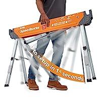Bora Portamate Speedhorse Sawhorse | 重型长马桌架,带折叠桌腿和金属顶部,适用于 2x4 PM-4500
