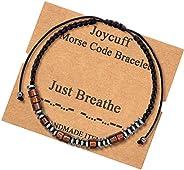 Morse Code 手链适合男士、女士、青少年女孩送给她的妈妈、女儿妹妹阿姨妻子、女朋友、表兄弟、*好的朋友励志有趣的珠宝丝绸串珠缠绕手链,可调节, 木, 无宝石,