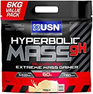 USN Hyperbolic Mass All-In-One Muscle Gainer Shake Powder, Vanilla, 6 kg
