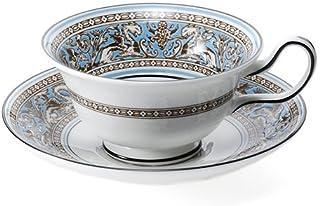 Wedgwood Florentine Turquoise系列 茶杯&茶碟套装 牡丹