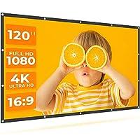 VANKYO StayTrue 投影屏幕,120英寸投影屏幕4K HD,16:9,可折疊無皺電影屏幕(1.1GAIN,160°視角),適用于家庭影院,支持前后投影