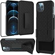 Ailiber iPhone 12 Pro Max 手机壳带屏幕保护膜,iPhone 12 ProMax 皮带夹皮套,支架支架坚固全机身防震超薄保护套适用于 Apple iPhone 12 Max Pro 6.7 英寸
