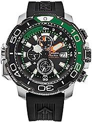Citizen 男士 ProMaster Aqualand 计时黑色表盘钢表壳橡胶表带手表