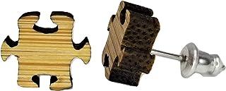 拼图件耳环 - 木质镂空 - 耳钉耳环 - 一对!