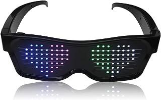 HJ&JUN Magic LED 眼镜 - 眼镜上可定制图案,蓝牙多色 LED 眼镜非常适合点亮派对和节日。文字和图案可通过应用程序设计/修改