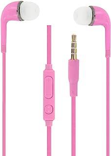粉色音频入耳式耳机硅胶超舒适隔音带音量控制和麦克风适用于 LG G8X Thinq