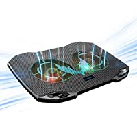 笔记本电脑散热垫,游戏笔记本电脑冷却器,带 2 个静音大风扇,RGB 7 色灯光变化,便携式 USB 笔记本电脑支架 11 至 15.6 英寸,纤薄便携,工作学习户外旅行,2020