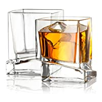 JoyJolt Carre Square Scotch 玻璃,老式威士忌玻璃杯 283.50 克,超透明威士忌玻璃杯 適用于波本*和*杯 2 件套