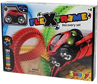 Smoby 智比 180902 FleXtreme 套装 探索电路车,184个灵活的模块化短节,1辆变速车,多色