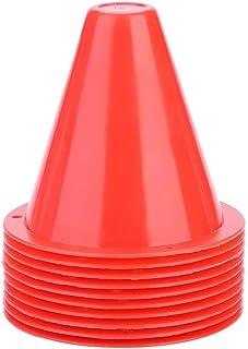 Conlense 足球训练锥体,10 个足球训练锥体足球屏障塑料标记支架配件(红色)