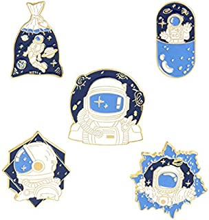 ROFARSO 5 件别针套装带宇航员珐琅胸针 Wander The Universe 卡通空间凹槽翻领别针配件背包徽章帽子女士女孩儿童礼物