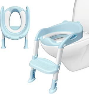 如厕训练马桶坐垫,适合儿童,带踏凳梯子,幼儿舒适马桶椅,带防滑垫和*手柄,柔软垫马桶训练座椅,适合男孩女孩 - 蓝色