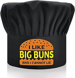 DYJYBMY I Like Big Buns and I Cannot Lie, 成人可调节厨房烹饪帽带弹性带厨师烘焙帽黑色趣味烧烤厨师帽男士爸爸,丈夫,烧烤烧烤礼物男士礼物