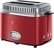 Russell Hobbs 領豪 烤面包機,復古紅21680-56(1300瓦,倒計時顯示,面包附件,6個可調節的褐變級別+除霜和加熱功能,快速烘烤技術)