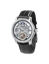 """Thomas Earnshaw 男式""""经度""""自动不锈钢和皮革休闲手表,颜色:黑色(型号:ES-8063-01)"""