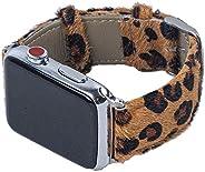 豹纹图案皮革表带兼容 Apple Watch 表带 44 毫米 42 毫米 40 毫米 38 毫米,真皮马毛表带替换表带适用于 iWatch 系列 SE 6 5 4 3 2 1(棕色,38 毫米/40 毫米)