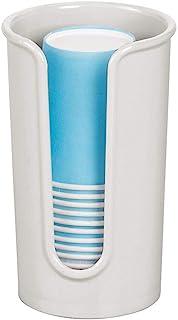 mDesign 现代塑料小型一次性纸杯分配器 - 浴室梳妆台台面冲洗杯储物架 浅灰色 1包 10306MDBA