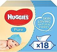 Huggies Pure 婴儿湿巾散装 - 99% 水,敏感,无香料,18 包,56 片(共 1,008 片湿巾)