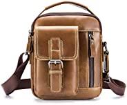 LAOSHIZI 真皮男士包小号单肩邮差包日常休闲旅行手提包迷你公文包