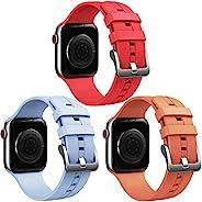 Honsdom 兼容 Apple Watch 表带 44 毫米 42 毫米 40 毫米 38 毫米 适合女士男士,软硅胶运动腕带替换表带适用于 iWatch SE 系列 6 5 4 3 2 1(3 件装-浅蓝色/红色/K