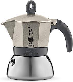 Bialetti 4823 Moka 感应意式浓缩咖啡壶 不锈钢,3杯容量,浅金(香槟色)