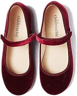 Childrenchic Mary Jane 平底鞋带魔术贴 – 女孩鞋(婴儿,幼儿,小童) Velvet - Burgundy 7-7.5 Toddler