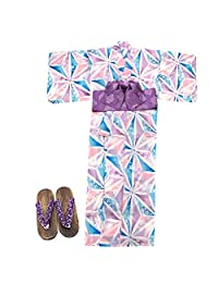 Merry Night 家居服 紫色 身高约157~167cm 女性 浴衣 3件套 (浴衣・制作带・木屐) 麻叶图案 EC1007-3-2