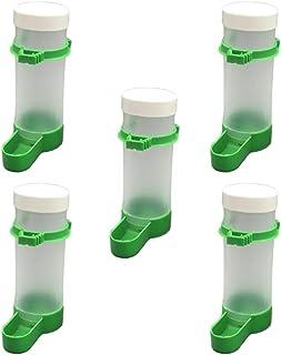 Yardwe 5 件鸟类喂食器 自动鹦鹉水瓶 宠物鸟 塑料饮水器 碗 水夹 适用于鹦鹉 Budgie Aviary Cockatiel - L 码