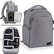 相机背包,AERFEIS DSLR SLR 帆布大号相机包适合 13 英寸笔记本电脑,三脚架支架,防水带防雨罩,适合男士女士,灰色(1809 - 灰色)